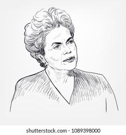 Dilma Vana Rousseff vector portrait sketch