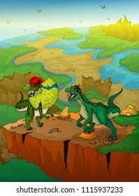 Dilophosaurus and raptor with landscape background. Vector illustration.