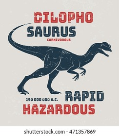 Dilophosaurus t-shirt design, print, typography, label. Vector illustration.