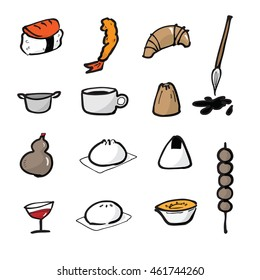 Dim Sum Chinese food icons set