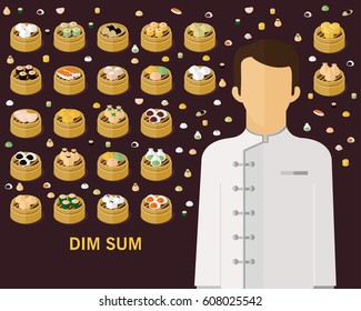 Dim sum concept background. Flat icons.