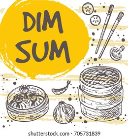 Dim sum menu concept design. Asian food. Chinese cuisine. Retro card. Hand drawn vector illustration. Can be used for street festival, farmers market, menu, cafe, restaurant, poster, banner, sticker.