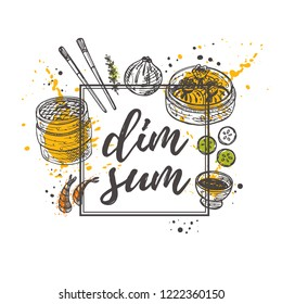 Dim sum. National chinese cuisine concept design. Sweet and sour. Asian oriental food. Hand drawn vector illustration. Can be used for cafe, market, menu, shop, bar, restaurant, poster, label, logo.