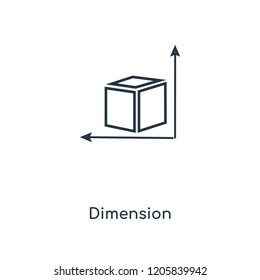 Dimension concept line icon. Linear Dimension concept outline symbol design. This simple element illustration can be used for web and mobile UI/UX.