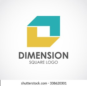 Dimension of connection square abstract vector and logo design or template ribbon business icon of company identity symbol concept