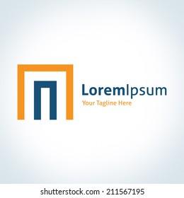 Dimension tech door of business entrepreneur system vector logo logotype icon