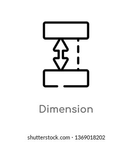 dimension vector line icon. Simple element illustration. dimension outline icon from geometry concept. Can be used for web and mobile