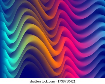 Dimensional gradient shape element for design, abstract colorful fluid vector background, flowing 3D wave, color dynamic motion layout.