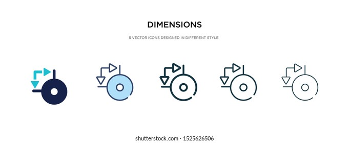 dimensions icon in different style vector illustration. two colored and black dimensions vector icons designed in filled, outline, line and stroke style can be used for web, mobile, ui
