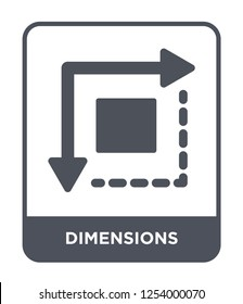 dimensions icon vector on white background, dimensions trendy filled icons from Geometry collection, dimensions simple element illustration