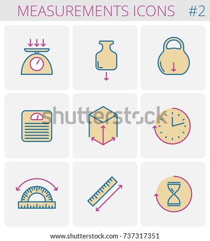 dimensions measurements outline icon set weight のベクター画像素材
