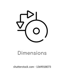 dimensions vector line icon. Simple element illustration. dimensions outline icon from geometry concept. Can be used for web and mobile