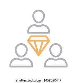 dimond team colour line vector icon