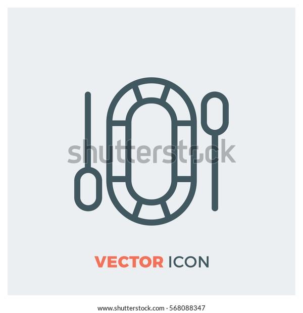 Dinghy line vector icon