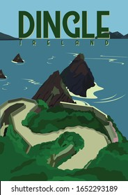 Dingle Ireland Vector Illustration Background. Travel to Dingle Peninsula Southwest Ireland. Flat Cartoon Vector Illustration in Colored Style.