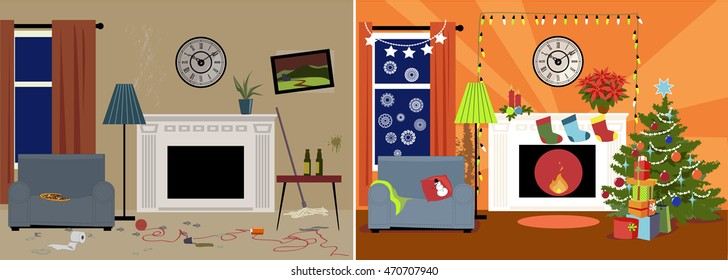 Dingy messy family room transformed into a cozy decorated for Christmas room, EPS 8 vector illustration