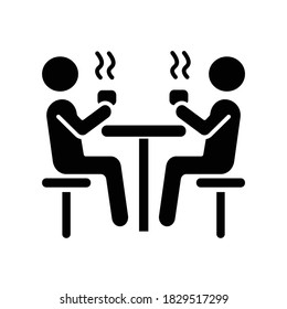 Dining hall black glyph icon. School cafeteria. University canteen. Students having lunch at table. People drinking hot drinks. Silhouette symbol on white space. Vector isolated illustration