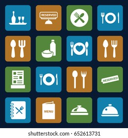 Dining icons set. set of 16 dining filled icons such as spoon and fork, plate fork and spoon, dish, menu