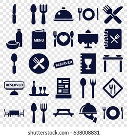 Dining icons set. set of 25 dining filled icons such as spoon and fork, plate fork and spoon, restaurant table, knife, dish, restaurant, menu, reserved, dish serving