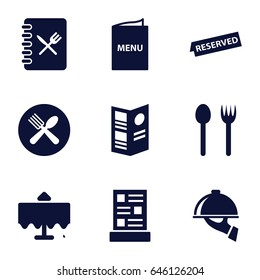 Dining icons set. set of 9 dining filled icons such as restaurant table, spoon and fork, menu, reserved, dish serving