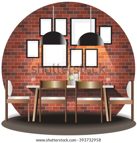 Dining Room Elevation Set With Brick Background For Interiorvector Illustration