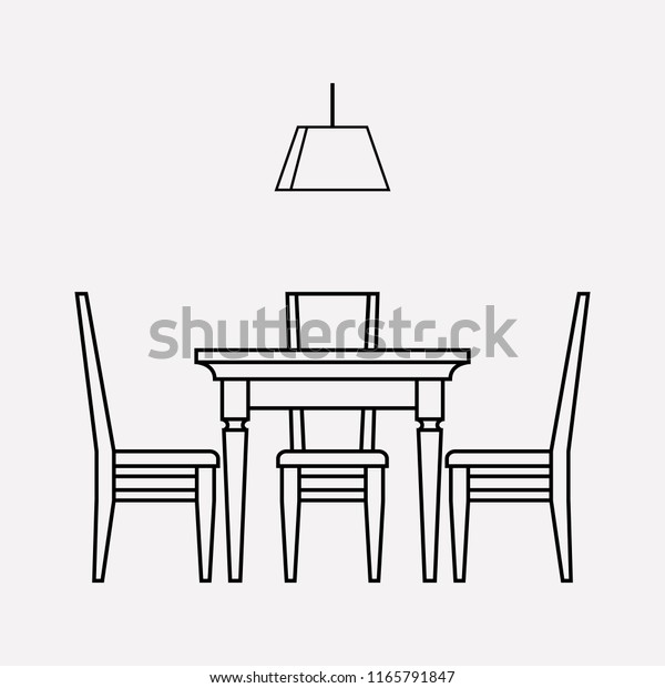 Dining Room Icon Line Element Vector Stock Vector Royalty Free 1165791847