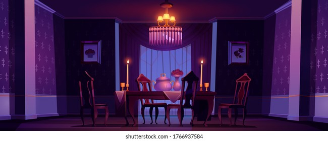 Dining room interior in classic victorian style with burning candles at night. Vector cartoon illustration of vintage baroque furniture in old banquet hall with feast table, chairs and goblets