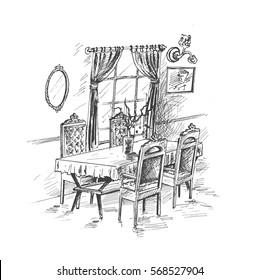 Dining room interior - Hand Drawn sketch concept vector illustration.