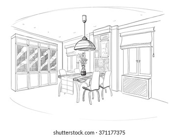 Dining room interior with table.