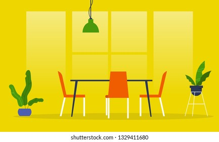Dining room. Restaurant. Millennial lifestyle interior. Flat editable vector illustration, clip art