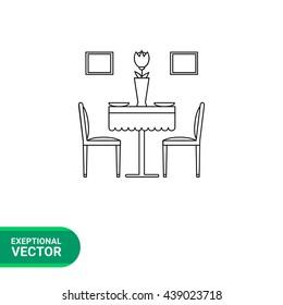 Dining room set line icon