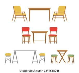 Dining table and chairs for two people for home or cafe interior isolated on white background. Vector illustration in flat style isolated on white background