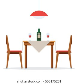 Dining table and chairs for two people. Bottle of wine and two glasses. Vector illustration in flat style isolated on white background
