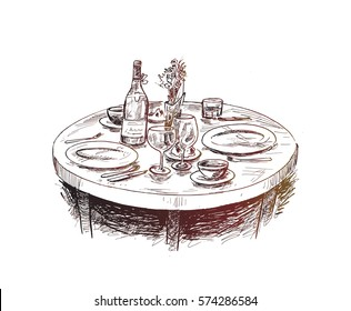 Dining table for date with glasses of wine, Hand Drawn Sketch Vector illustration.