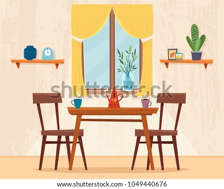 Dining Table In Kitchen With Chairs Cups And Teapot Window Curtain Flat