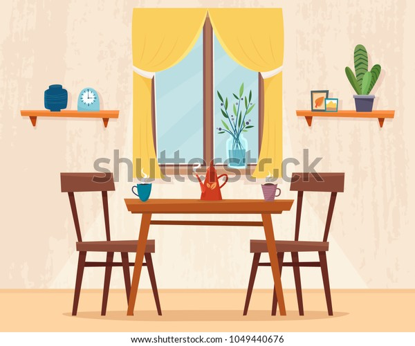 Dining Table Kitchen Chairs Cups Teapot Royalty Free Stock Image