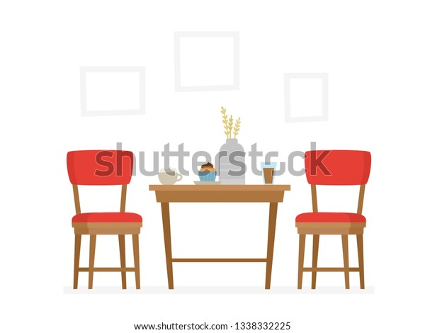 Vector De Stock Libre De Regalias Sobre Dining Table Red Chairs Two People1338332225