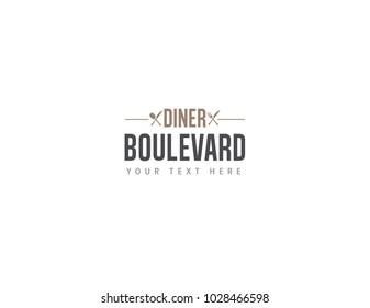 Dinner Boulevard Logo. Food and Drinks Logo. Vintage Logo. Outlines
