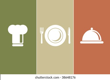 Dinner & Cooking Icons: chefs hat, plate, fork, knife and casserole
