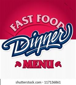 DINNER hand lettering - handmade calligraphy, vector (eps8)
