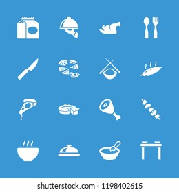 Dinner icon. collection of 16 dinner filled icons such as dish, porridge, table with plates and pan, pizza, kebab, dish serving. editable dinner icons for web and mobile.