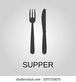 Dinner icon. Dinner symbol. Flat design. Stock - Vector illustration