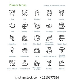 Dinner Icons - Outline styled icons, designed to 48 x 48 pixel grid. Editable stroke.