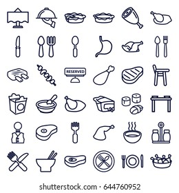 Dinner icons set. set of 36 dinner outline icons such as porridge, fork and spoon, asian food, chicken leg, pie, take away food, chicken, meat leg, kebab, fork and knife