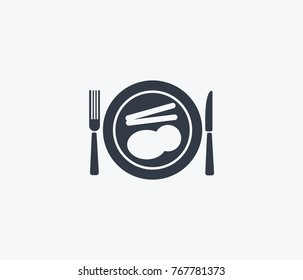 Dinner meal icon isolated on clean background. Lunch concept drawing dinner meal icon in modern style. Vector illustration of dinner meal icon for your web site mobile logo app UI design.