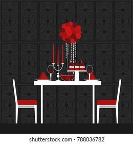Dinner on Valentine's Day. Vector illustration.