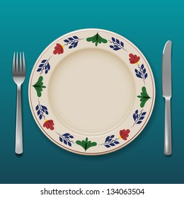 Dinner plate with cutlery, eps10 vector
