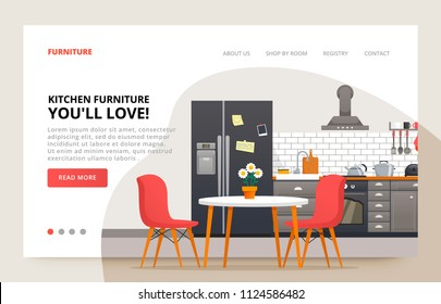 Dinner room design. Home furniture site banner. Kitchen moder design. Kitchen interior with furniture. Illustration slide for furniture website.