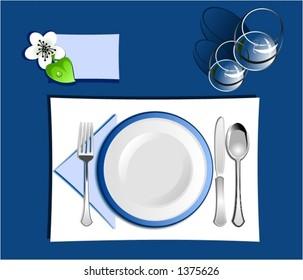 Dinner setting in blue