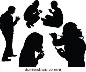 dinner silhouette - vector
